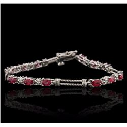 14KT White Gold 3.82 ctw Ruby and Diamond Bracelet