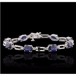 14KT White Gold 10.32 ctw Sapphire and Diamond Bracelet