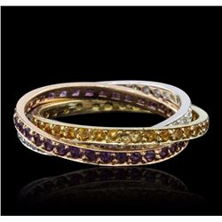 14KT Tri Color Gold 0.72 ctw Amethyst, Citrine, and Diamond Ring