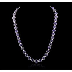 14KT White Gold 73.04 ctw Sapphire and Diamond Necklace