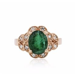 14KT Rose Gold 3.08 ctw Emerald and Diamond Ring