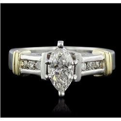 14KT Two-Tone 1.08 ctw Marquise Cut Diamond Ring