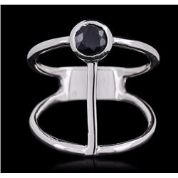 14KT White Gold 0.55 ctw Sapphire Ring