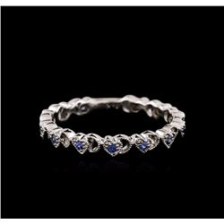18KT White Gold 0.10 ctw Sapphire and Diamond Ring