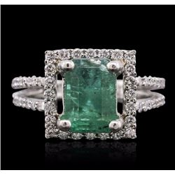 18KT White Gold 2.84 ctw Emerald and Diamond Ring