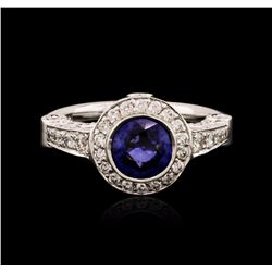 14KT White Gold 1.49 ctw Sapphire and Diamond Ring