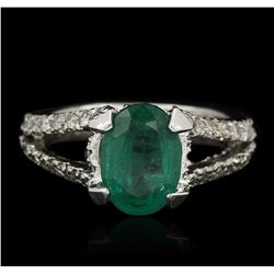 14KT White Gold 1.80 ctw Emerald and Diamond Ring