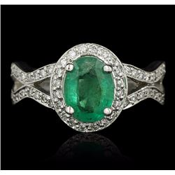 14KT White Gold 1.16 ctw Emerald and Diamond Ring