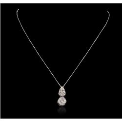 14KT White Gold 0.10 ctw Diamond Pendant With Chain