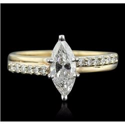 14KT Yellow Gold 1.36 ctw Marquise Cut Diamond Ring