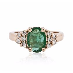 14KT Rose Gold 1.21 ctw Emerald and Diamond Ring