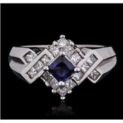 14KT White Gold 0.41 ctw Sapphire and Diamond Ring