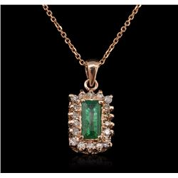 14KT Rose Gold 0.91 ctw Emerald and Diamond Pendant With Chain