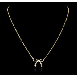 14KT Yellow Gold 0.05 ctw Diamond Bow Necklace