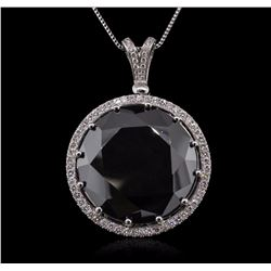 14KT White Gold 101.06 ctw Black and White Diamond Pendant With Chain