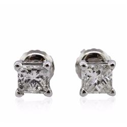 14KT White Gold 1.11 ctw Diamond Solitaire Earrings