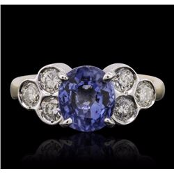 14KT Yellow Gold 2.85 ctw Sapphire and Diamond Ring