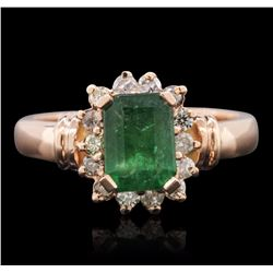 14KT Rose Gold 1.51 ctw Emerald and Diamond Ring