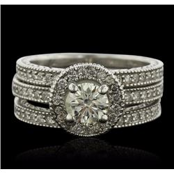 14KT White Gold 1.87 ctw Diamond Ring Wedding Set