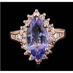 14KT Rose Gold 3.06 ctw Tanzanite and Diamond Ring
