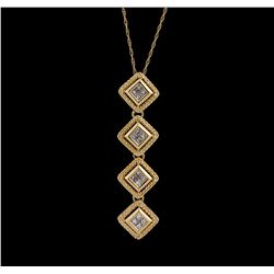 14KT Yellow Gold 0.60 ctw Diamond Pendant With Chain