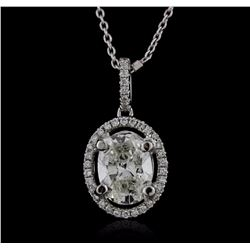 18KT White Gold 1.37 ctw Diamond Pendant With Chain