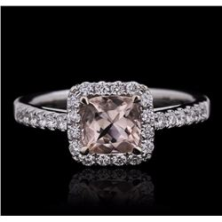 14KT White Gold 0.90 ctw Morganite and Diamond Ring