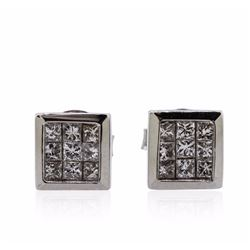 14KT White Gold 0.69 ctw Diamond Earrings