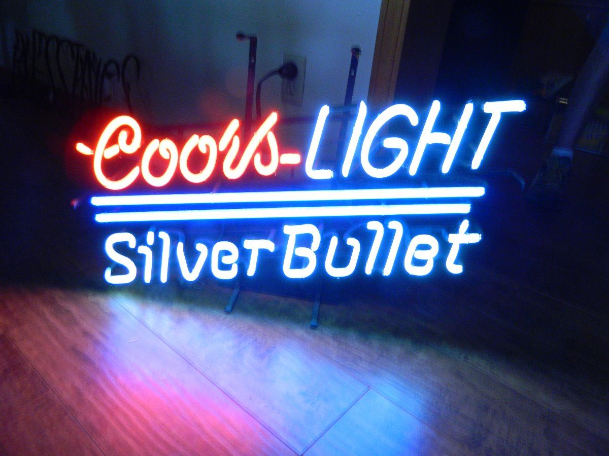 (Old) Coors Light Silver Bullet Neon Sign, Full Size, Pick Up. Loading Zoom