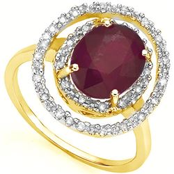GENUINE 3.14 CTW RUBY AND 0.16 CTW DIAMOND SOLID 14K YE