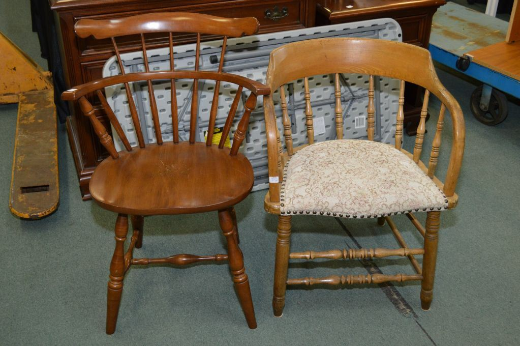 Image 1 : Vilas Maple Windsor Style Chair And A Vintage Captainu0027s Chair  With Upholstered Seats