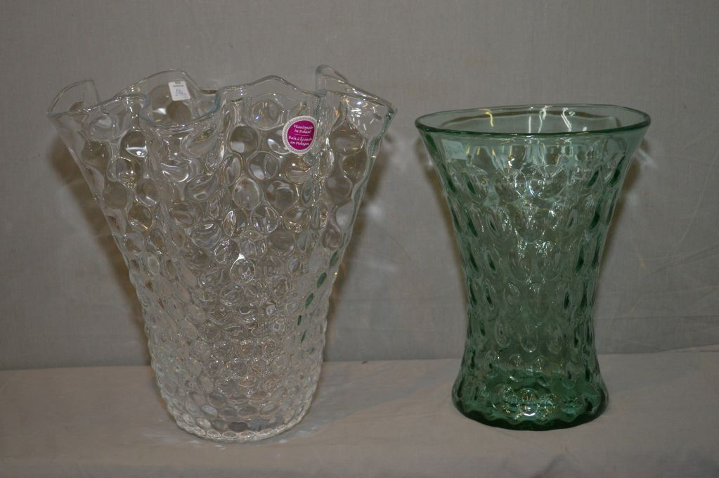 Two Large Polish Art Glass Vases Including Ruffled Edge 13 12 In Vase