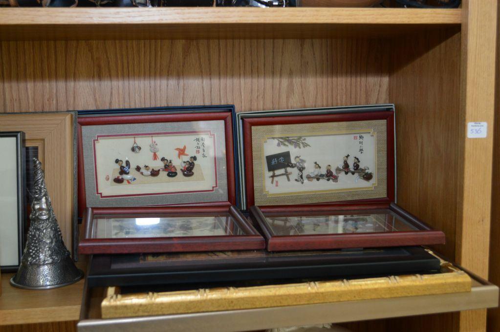 Image 2 shelf lot of collectibles including oriental framed art pair of etched metal