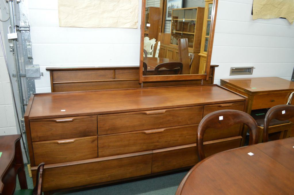 Walnut Mid Century Modern Eight Drawer Mirrored Dresser And Headboard Made  By Haddon Hall. Loading Zoom