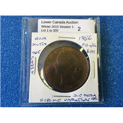 Nova scotia one penny 1856 whithout L.C.W. NS-6A2.