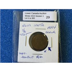 Nova Scotia 1864 1/2 cent AU-UNC, doubling on D
