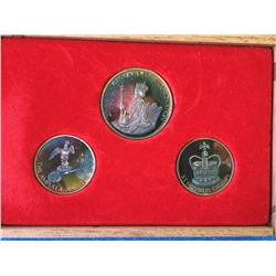 Silver 3 coin set 20 th Anniversary of the Coronation