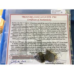 Treasure coins from the AUGUSTE 1761 with certificate of authenticity.