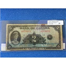 Bank of Canada; $2.00 note 1935 BC-3 English A1536072 in VG.