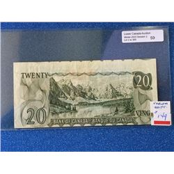 Bank of Canada; $20.00 note 1969 BC-50b Back of note out of register, VF+.