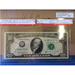 USA; $10.00 note 1988A G38064357B Gem note with 100% offset reverse.