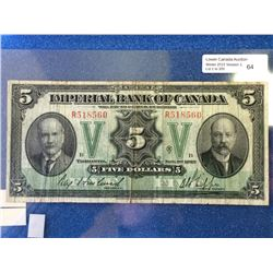 Imperial Bank of Canada; $5.00 note 1923 375-18-02 Howland left in Fine R518560.