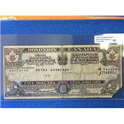Dominion of Canada; $5.00 15-12-41 War Savings Certificate in VG.