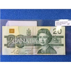 Bank of Canada; $20.00 note 1991 BC-58b VF. Green ink fading between 2 and 0, after 0 in the Queen f