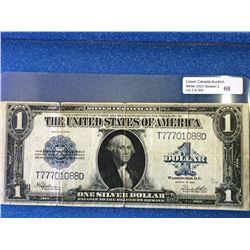 USA; $1.00 note 1923 T77701088D Silver Dollar, Fine with light tear in bottom center fold.