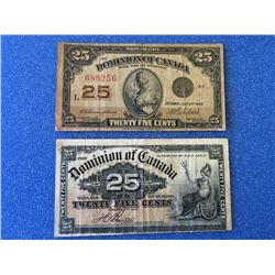 Dominion of Canada; $0.25 note 1900 DC-15b VF some writing from 1923 on the back, $0.25 note 1923 DC