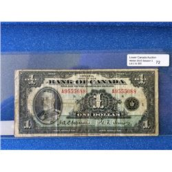 Bank of Canada; $1.00 note 1935 English BC-1 A9555688 in VG.