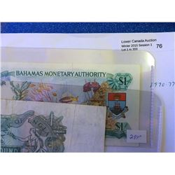 Bahamas 1 dollar note Law of 1968 UNC and Great Britain 1 Pound Page 1970-77 VF. Lot of 2 notes.