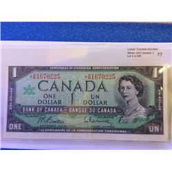 Bank of Canada; $1.00 replacement note 1967 *B/M1670225 error cut out of registry.