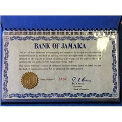 Bank of Jamaica set of 4 match set  banknote, series 1976, limited edition 5000.